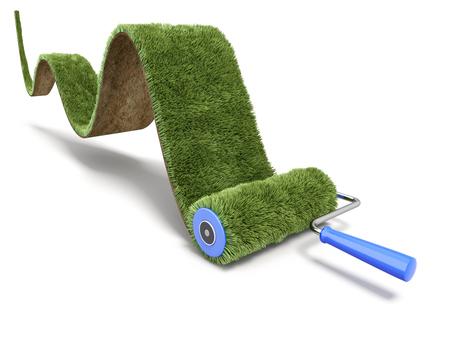 rollerbrush: Green paint of grass carpet