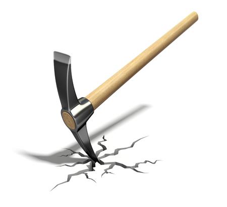gap: Pickaxe in the cracked floor - 3D illustration Stock Photo