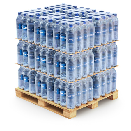 Plastic PET bottles on the pallet Imagens