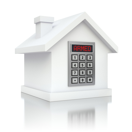 burglar alarm: Armed house security alarm Stock Photo
