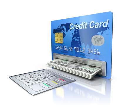 Cash machine in the credit card photo