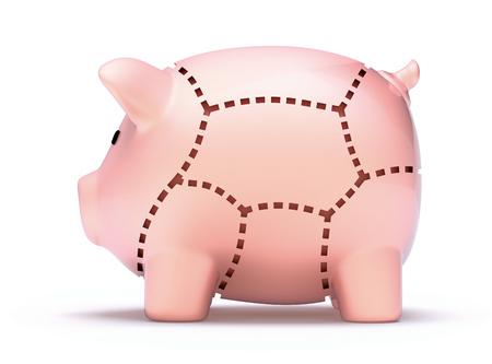 hypothec: Cuts of savings Stock Photo