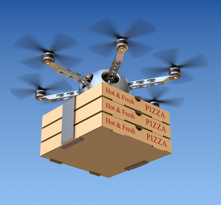 Entrega de pizza en el avión no tripulado Foto de archivo