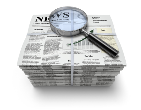 daily newspaper: Newspapers with magnifier. Stock Photo