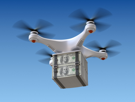 remote control: Quadrocopter drone with the money Stock Photo