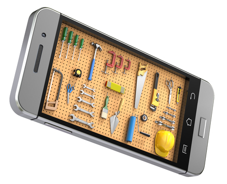 hardware tools: Pegboard in the mobile phone Stock Photo