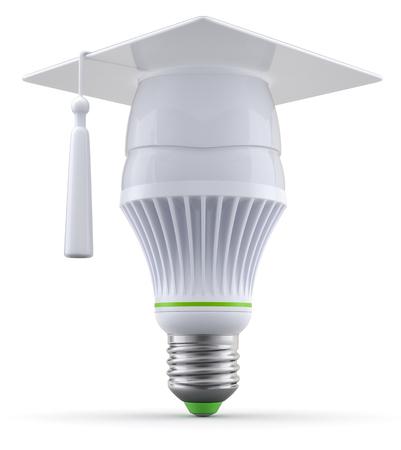 led light bulb: 3D concept with led light bulb with graduation cap Stock Photo
