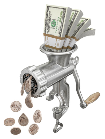 Money concept with meat grinder