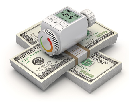 programmable: Energy saving concept with radiator thermostatic valve Stock Photo