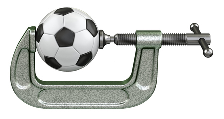 clamps: Soccer ball squeezing in a G-clamp