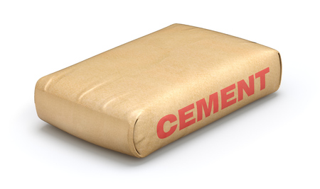 white paper bag: Cement sack Stock Photo