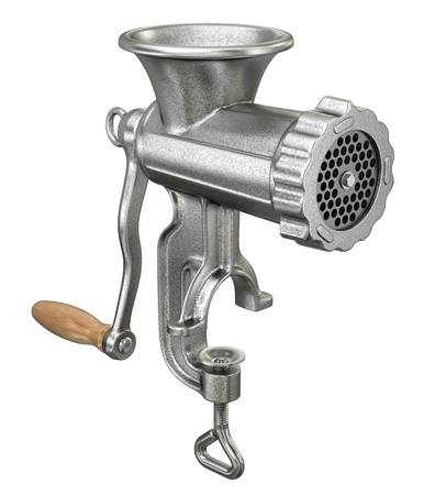 meat  grinder: Old meat grinder isolated on white background Stock Photo
