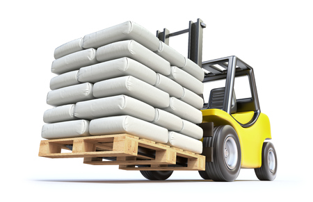 sack truck: Forklift with white sacks