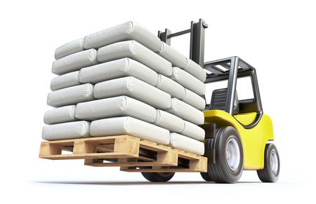 sacks: Forklift with white sacks