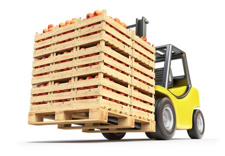 木箱の赤りんごでフォーク リフトします。 写真素材