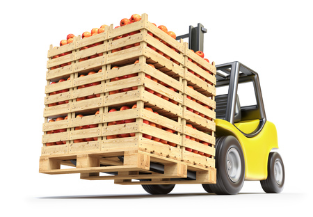 crates: Forklift with red apples in wooden crates