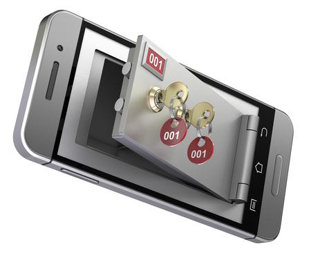 safe deposit box: Safe deposit box in the mobile phone