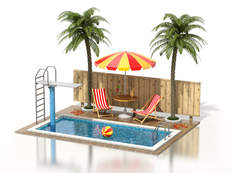 3d swimming pool: Swimming pool on white reflective background