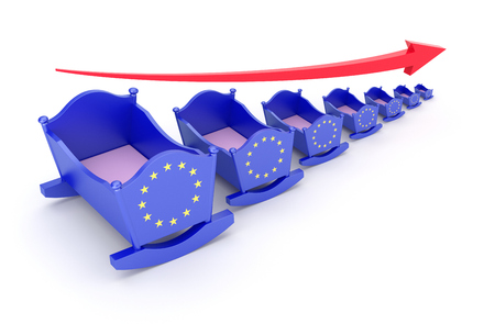 reproduce: Birthrate concept with EU flag on the cradle