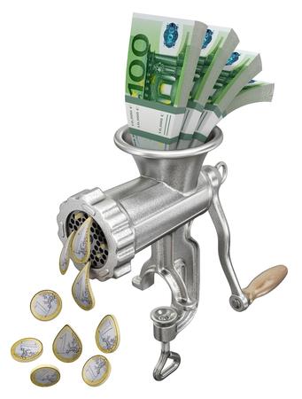 meat  grinder: Money concept with meat grinder