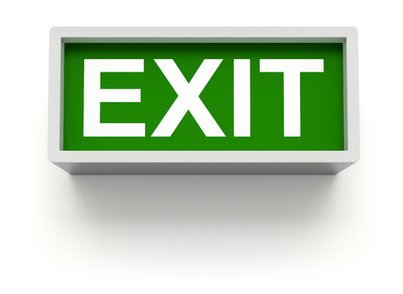 green exit emergency sign: Exit sign on white wall