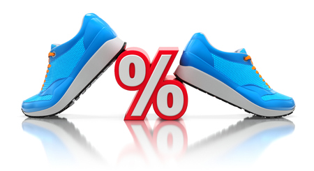 shopping: Discount concept with blue sneakers and percent sign