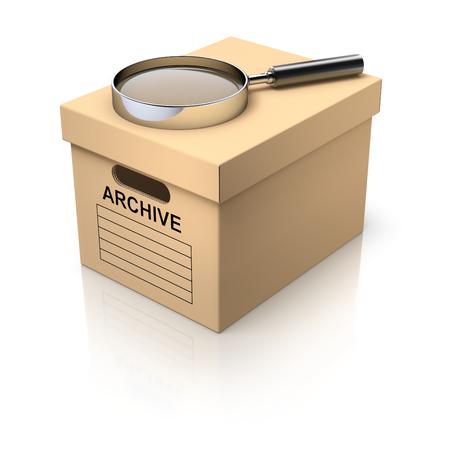 carton box: Storage box with magnifying glass