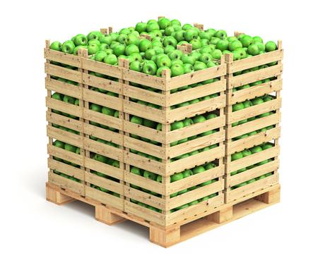 Green apples in wooden crates Standard-Bild