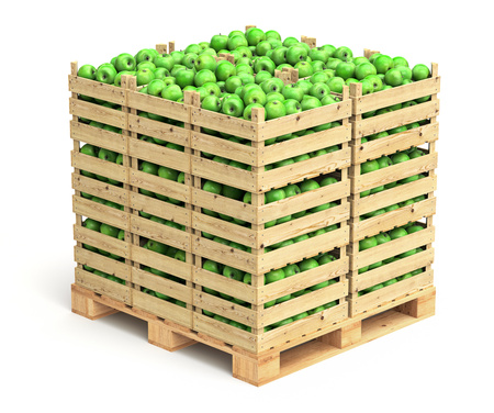 Green apples in wooden crates Stockfoto