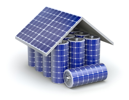 solar panel roof: Solar home battery concept Stock Photo