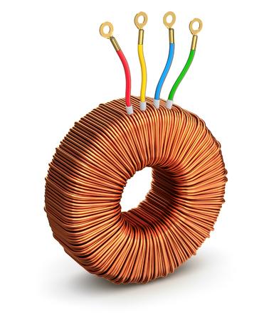 inductor: Toroidal transformer Stock Photo