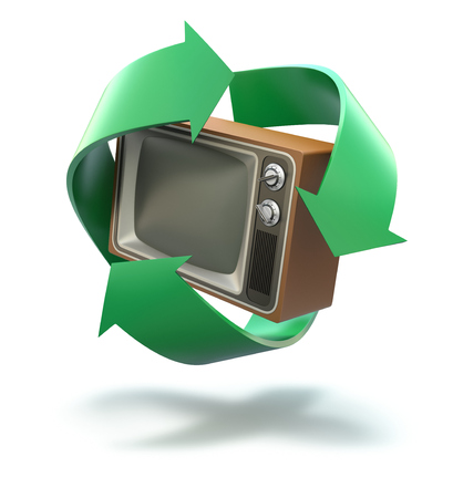 old tv: Old TV with recycling symbol
