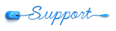 computer services: Blue mouse and cable in the shape of support word