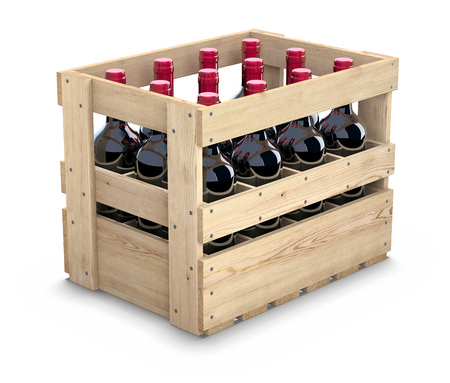 box: Wine bottles in a wooden crate Stock Photo