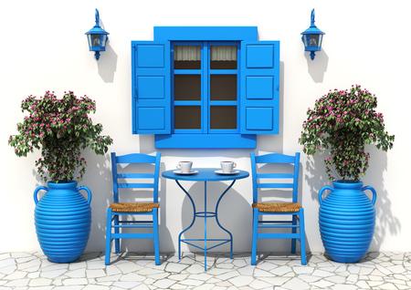 伝統的なギリシャのテラス