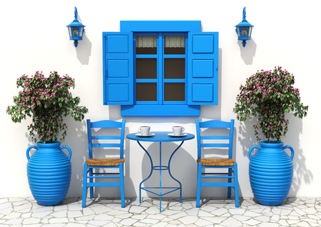 greece: Traditional greek terrace