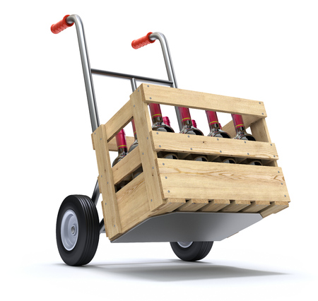 wooden crate: Hand truck with wine bottles in a wooden crate