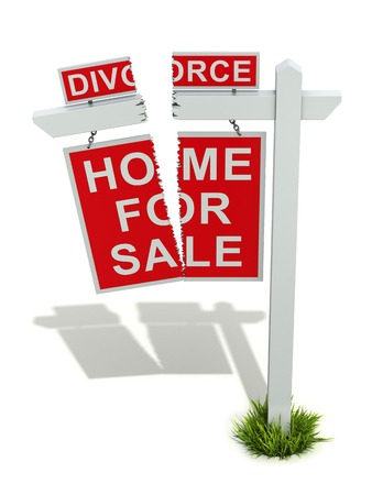 breakup: Divorce concept with home for sale sign - 3D illustration