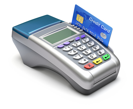 pos: POS terminal with inserted credit card - 3D illustration Editorial