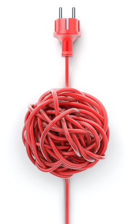 malfunction: Plug with knotted cable Stock Photo
