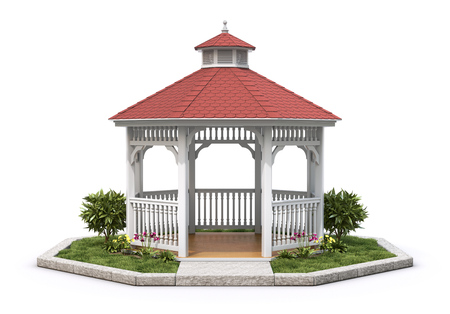 octagonal: White wooden gazebo with the plant on white background - 3D illustration