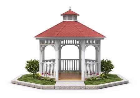 pavilion: White wooden gazebo with the plant on white background - 3D illustration