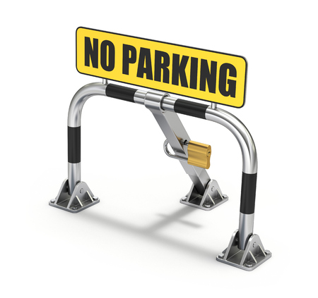 traffic barricade: Metallic parking bay barrier with padlock on white background - 3D illustration Stock Photo
