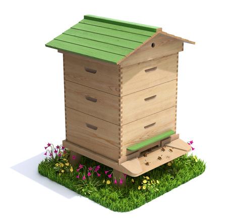 abeja: Colmena de la abeja con la hierba y flores sobre fondo blanco - ilustración 3D Foto de archivo