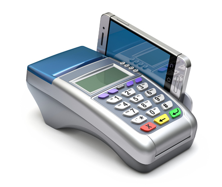 terminals: POS terminal with inserted mobile phone - 3D illustration