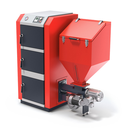 Wood pellet boiler with fuel hooper and feeding system Stock Photo