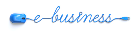 ebusiness: Blue mouse and cable in the shape of e-business word