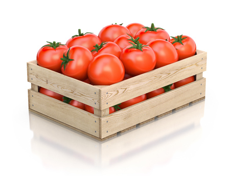 wooden crate: Tomatoes in wooden crate