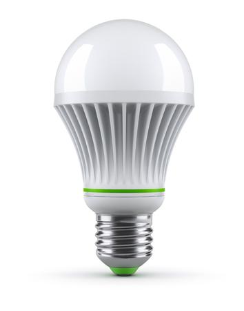 白い背景の上の LED 電球