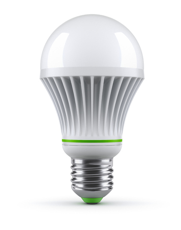 green bulb: LED bulb on white background